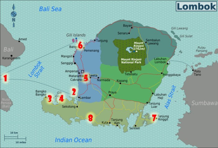 Rekomendasi Itinerary Lombok : The Map!!