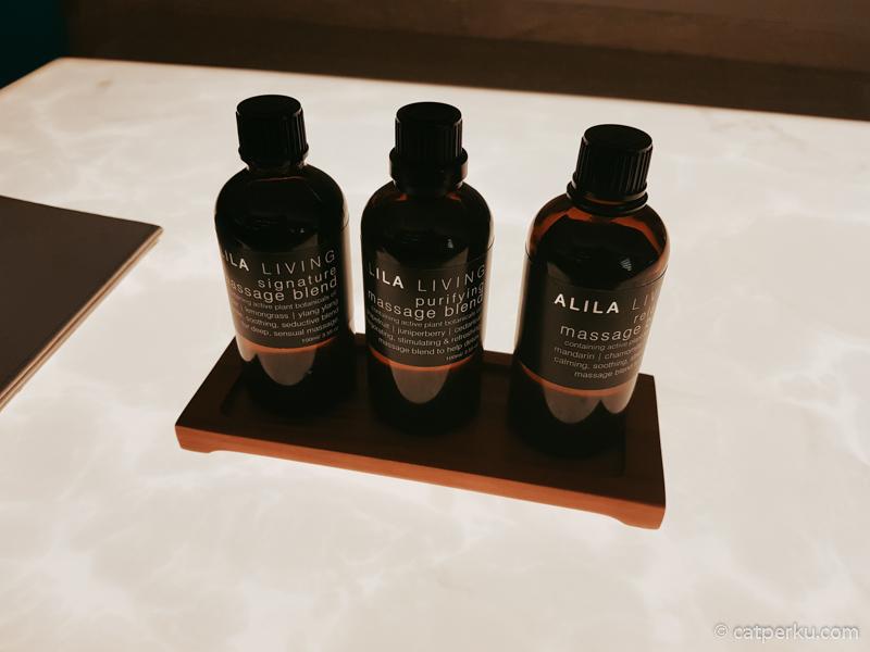 Ada tiga pilihan aroma terapi di SPA Alila Solo