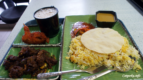 Briyani Rice, Mutton Roast, Quil Fry, Milk Tea