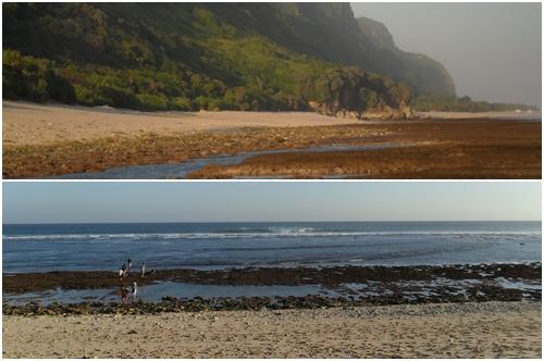 Kalau dari deket, kondisi Pantai Nyang Nyang seperti ini nih :D