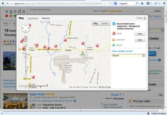 Fitur Booking Hotel Dengan map seperti google map di Agoda.com ini lebih memudahkan untuk mencari penginapan yang pas.
