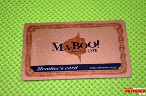 Kartu anggota manboo cafe yang ada di Shibuya, Tokyo, Japan (bagian depan).