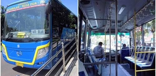 Penampakan bus TransSarbagita dari luar dan dalam. Tidak begitu jauh beda dengan Transjakarta.