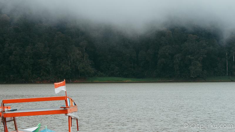 Pemandangan di sekitar Danau Situ Patenggang Bandung terasa begitu hijau dan adem.