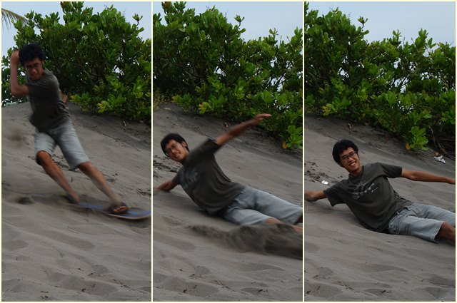 Percobaan sandboarding pertama... Saya terjatuh :|
