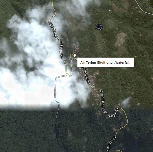 Peta lokasi Air Terjun Gitgit Waterfall Buleleng.