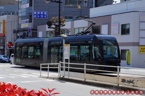 Salah satu Tram yang ada di Kota Toyama