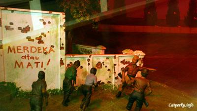 """""""Merdeka Atau Mati!!"""" Tulis salah satu diorama di museum Benteng Vredeburg yang menggambarkan perjuangan rakyat indonesia di Yogyakarta."""