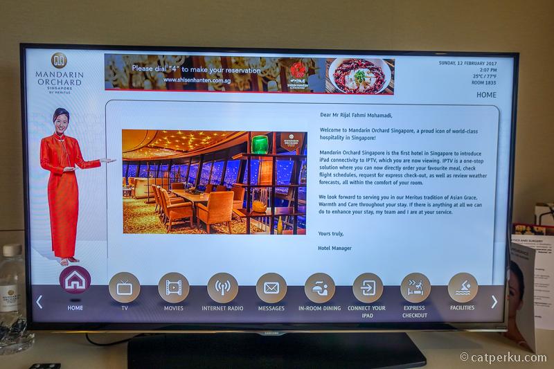 Ucapan penyambutan personal di LED TV yang ada di kamar saya