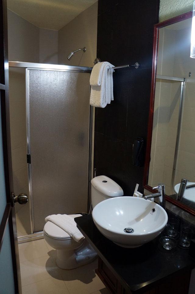 Enggak ada bathub, cuma shower dengan air  panas