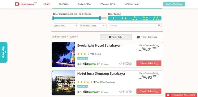 Pilih satu atau beberapa hotel untuk ditawar~
