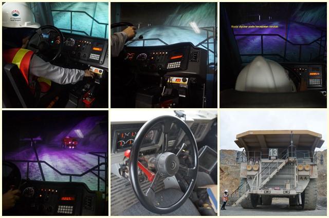 Simulator Haul Truck yang bagian dalamnya persis dengan aslinya.