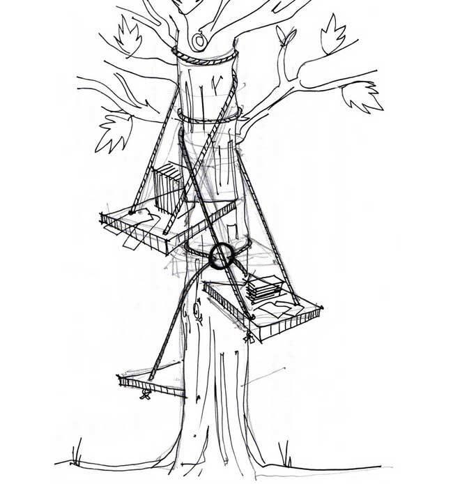 A mesa portátil que pode ser montada em árvores