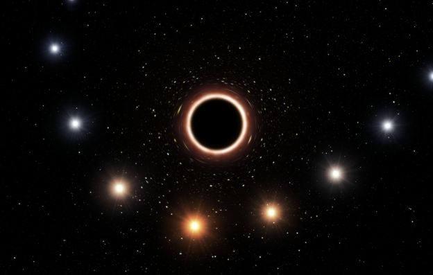 Esta ilustración muestra la trayectoria de la estrella S2 alrededor del agujero negro Sagitario A*. Cuando la estrella está muy cerca del agujero negro, el fuerte campo gravitatorio la vuelve rojiza.