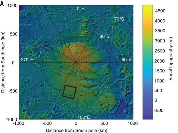 Ubicación del lago subglacial en el polo sur de Marte.