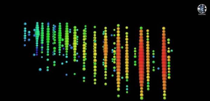 El neutrino de alta energía detectado el 22 de sep. de 2017. La imagen muestra un muón creado por la interacción entre el neutrino y el hielo cercano a IceCube, cuyo rastro de luz cruzó el detector. La luz recolectada por cada sensor se muestra con esferas de colores. El gradiente de color es la secuencia de tiempo.