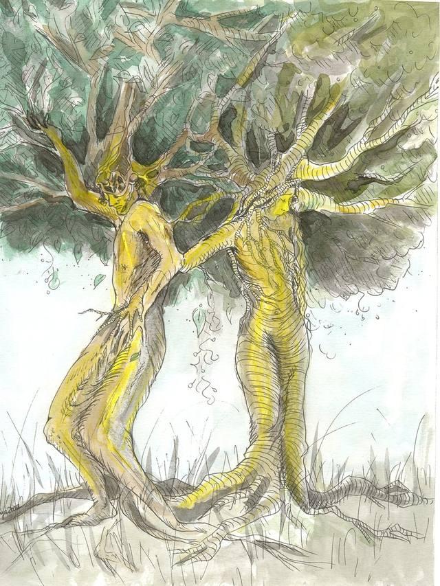 'Ask y Embla', por Jule A. Boehme (deviantart.com/juja-anandini).