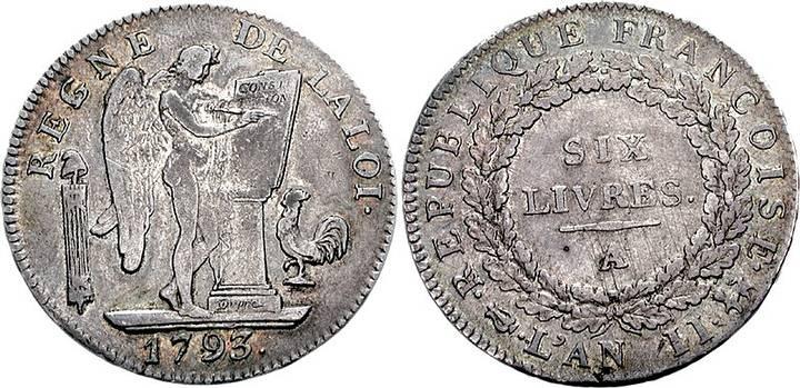 Escudo de seis libras, moneda de 1793.