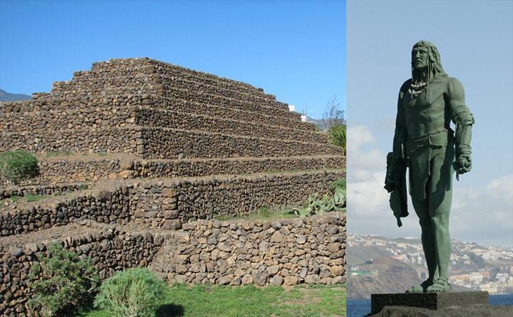 Una de las pirámides Güimar en Tenerife. Su fecha de construcción es objeto de debate. Aunque la teoría más aceptada las data del siglo 19, investigadores como el noruego Thor Heyerdahl creían que, debido a su alineación con los solsticios, eran obra de los guanches.