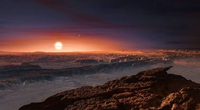 Recreación artística de la superficie de Próxima b, hallado en torno a Próxima Centauri, la estrella más cercana al Sistema Solar.