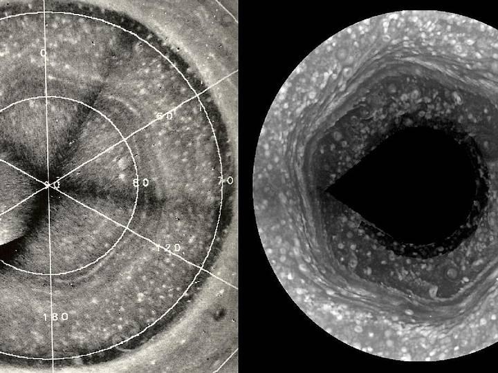 Antes de Cassini, en la década de 1980 la nave espacial Voyager había revelado un hexágono de baja altitud en el polo norte de Saturno. Ese hexágono es una onda duradera que se cree que está relacionada con la rotación de Saturno, similar a la forma en que la rotación de la Tierra influye en la corriente de chorro polar.