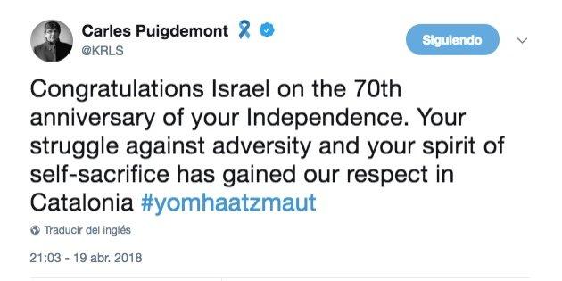 Resultado de imagen de tweet puigdemont israel