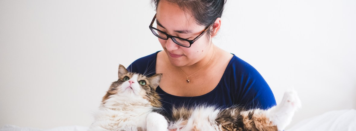 Montreal pet sitter holding a fluffy cat