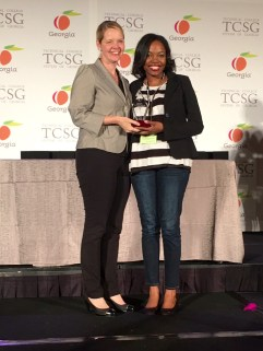 GNTC Rick Perkins Instructor of the Year Brittny Burns, right, accepting her state award from TCSG Commissioner Gretchen Corbin Tuesday night in Atlanta, Georgia.