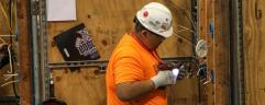 """Electrical Construction Wiring entry Eric Vargas of Rome, Georgia during his gold-medal winning performance at the Georgia SkillsUSA Competition and Conference at the Georgia International Conference Center in Atlanta, Georgia on March 24."""