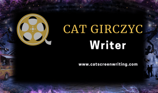 Lights, Camera, paranormal Action image of Cat girczyc screenwriter card