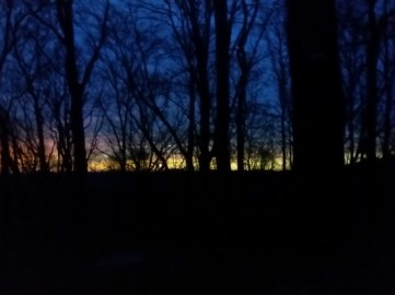 Sunset from inside Miss Janet's van.