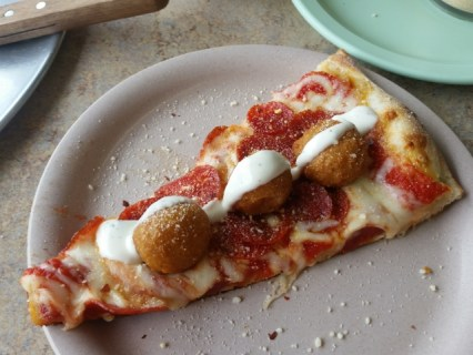 Fried mushrooms and ranch on pepperoni pizza. Things are starting to get weird out here!
