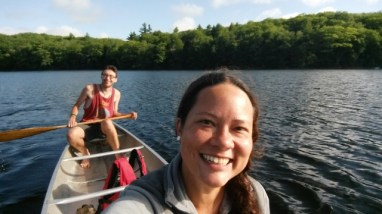 Canoeing with Waldo at Upper Goose Pond.