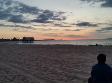 Pathfinder watching the sunrise on Old Orchard Beach in ME.