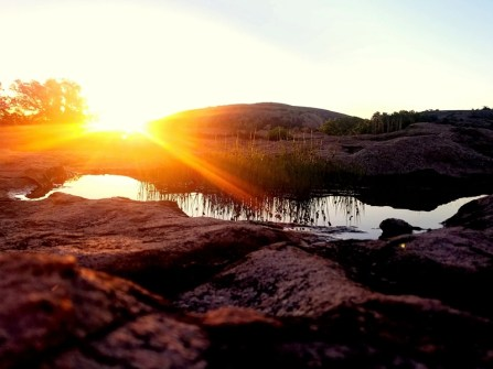 Sunrise over Enchanted Rock reflecting light from a vernal pool.