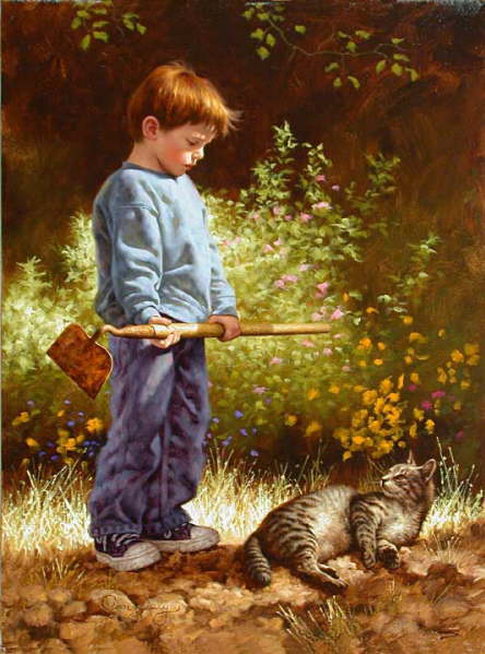 Cat and people paintings The Reluctant Gardener  Jim Daly