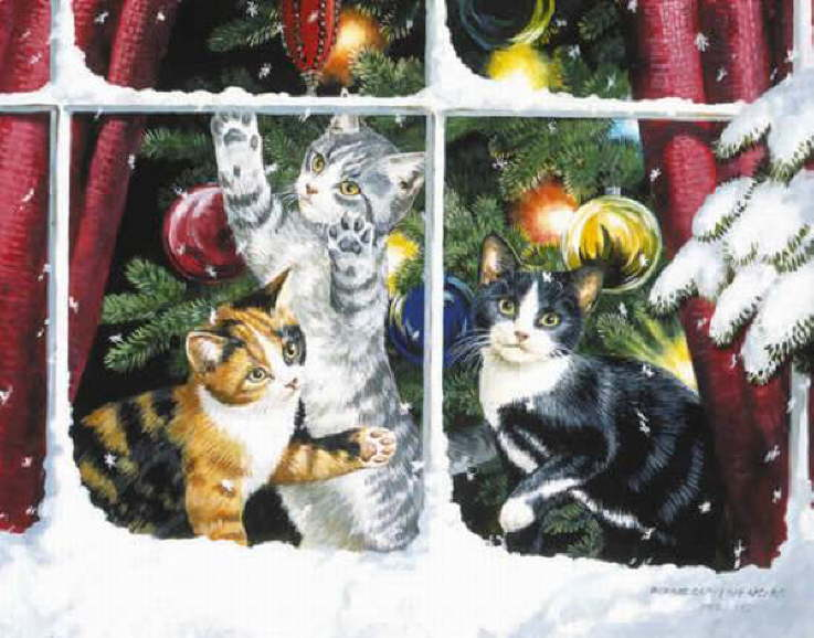 Christmas Cats And New Years Cats Painting Weirs Persis