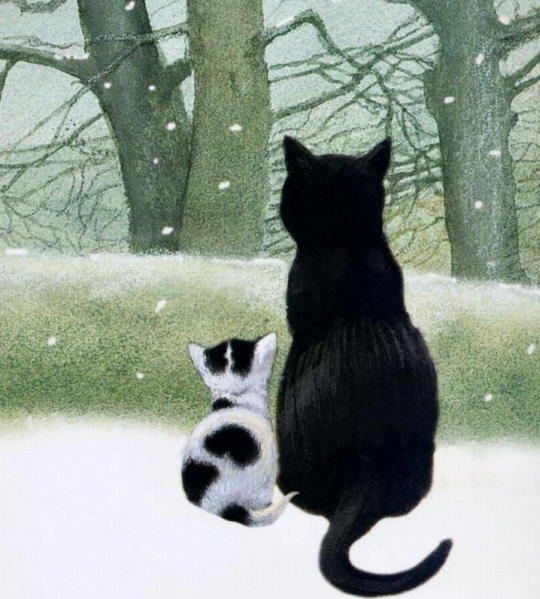 Painting of winter cat. Vicky Mount