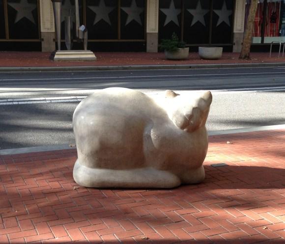 Cat In Repose sculpture in Portland