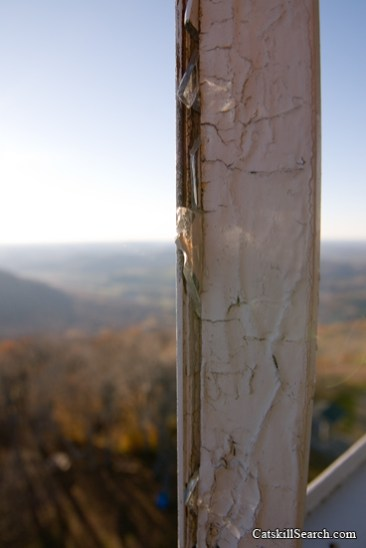 Remnants of window pane glass in the fire tower