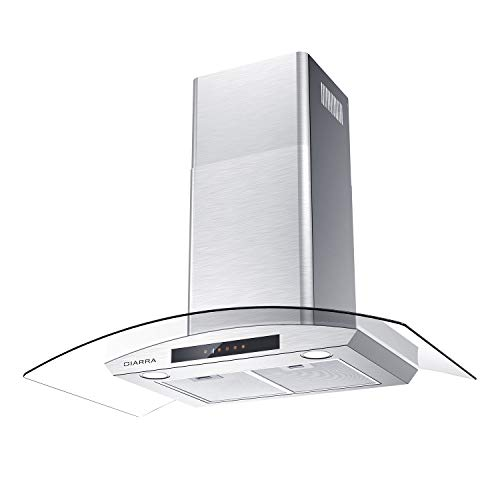 ciarra cas75502 glass vent hood 30 inch wall mount range hood 450 cfm stainless steel stove hood with 3 speed exhaust fan 2 dishwasher safe filters