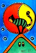 Cat Art titled Cat and Moon by Dora Hathazi Mendes.