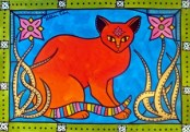 Cat Art titled Indian Cat with Lilies by Dora Hathazi Mendes