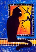 Cat Art Insomnia Cat and Owl by Dora Hathazi Mendes