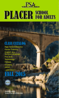 Placer School for Adults - Fall 2015 Catalog