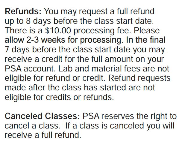 PSA Refund Policy
