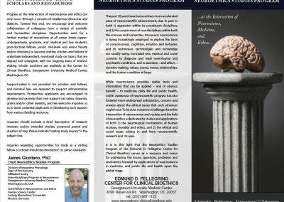 Georgetown University Neuroethics Program, Trifold Brochure
