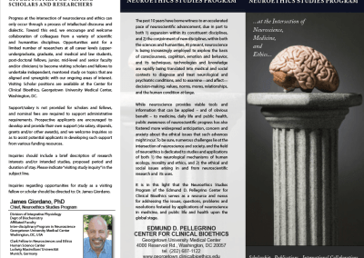 Georgetown University Neuroethics Program, Trifold Brochure