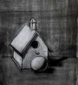 still life birdhouse
