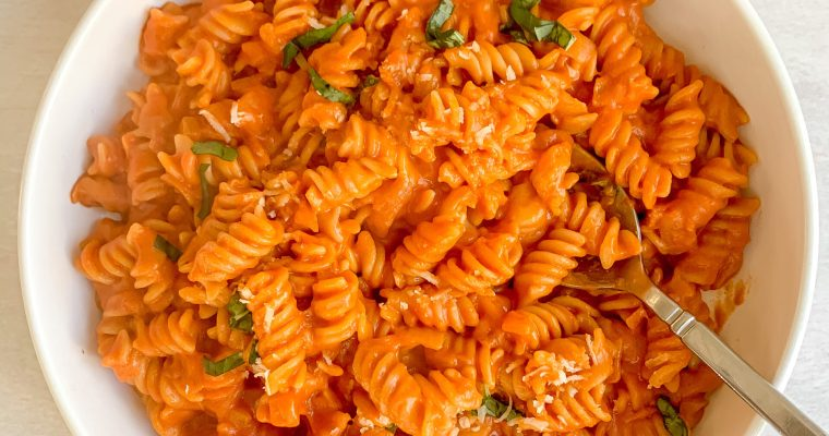 Spicy Fusilli Pasta with Tomato + Cream (Gluten Free, Vegetarian, Dairy Free friendly)